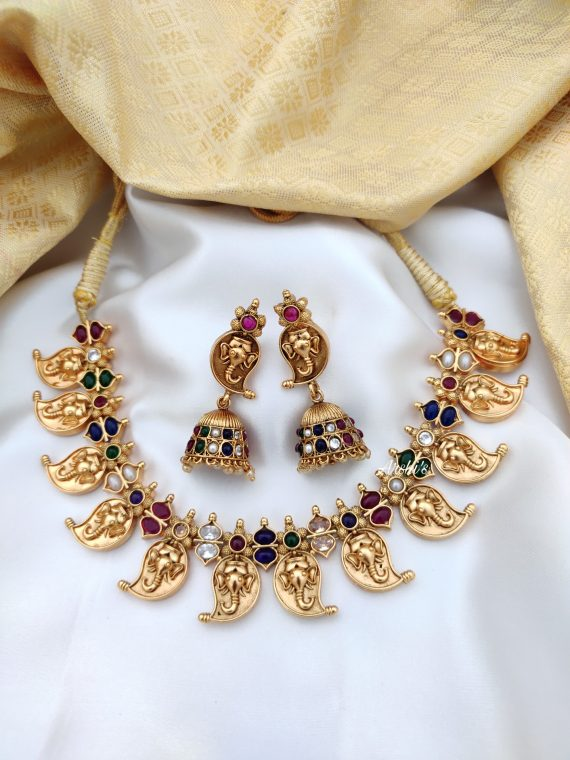 Antique Mango Necklace Set With Jhumkas-01