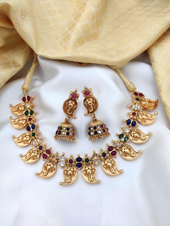 Antique Mango Necklace Set With Jhumkas-01