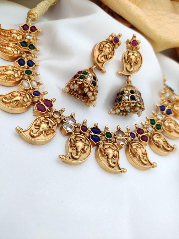 Antique Mango Necklace Set With Jhumkas-02