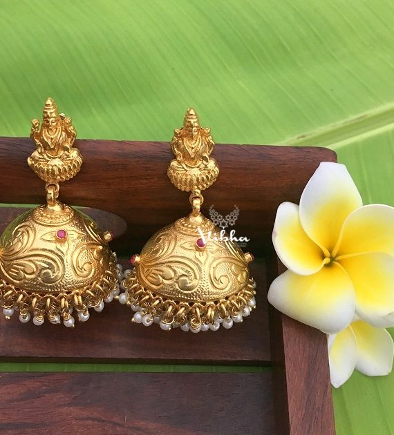 Beautiful Gold Replica Lakshmi Jhumkas-01