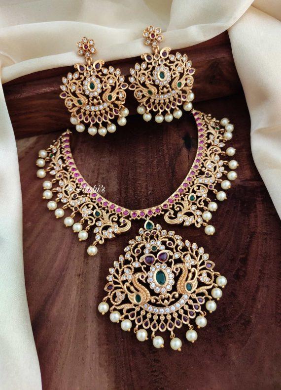 Beautiful Imitation Kemp Peacock Necklace-02