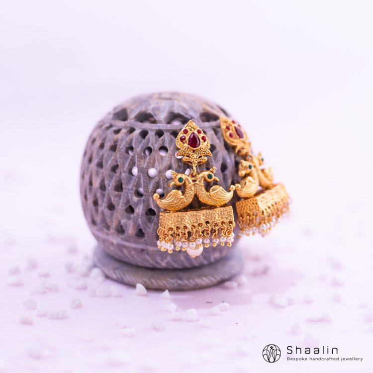 Beautiful Peacock Motif Jhumka Earrings-01