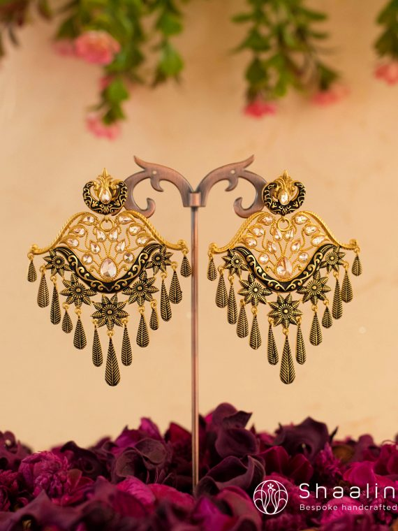 Black Ethnic Hand Painted Chandbali Earrings-01