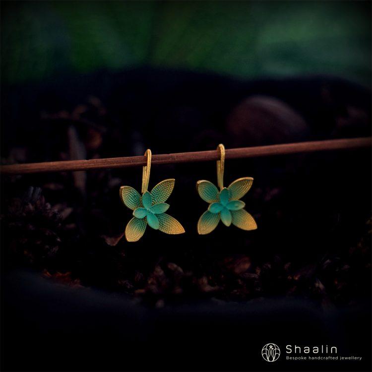 Blue Floral Hoop Hand Painted Earrings-01