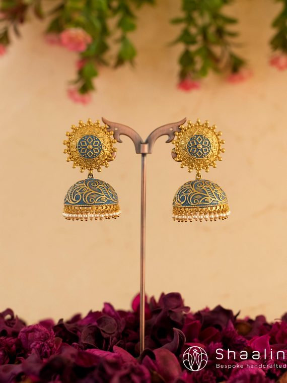 Brass Based Hand Painted Blue Jhumkas-01