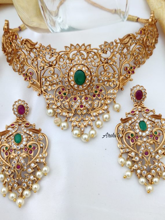 Bridal AD Ruby & Green Stone Matt Finish Choker-01