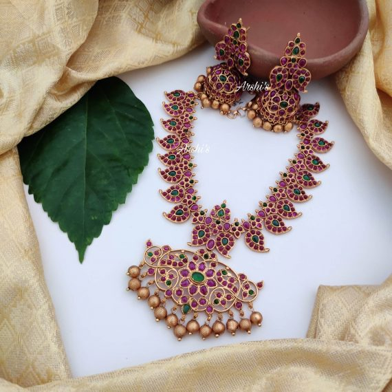 Bridal Red and Green Kemp Stone Necklace-02
