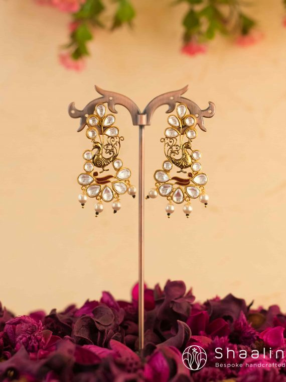 Classic Peacock Kundan Earrings-01