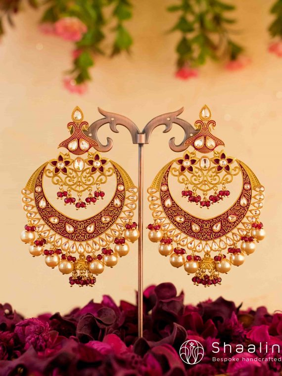 Deep Pink Ethnic Hand Painted Chandbali Earrings-01