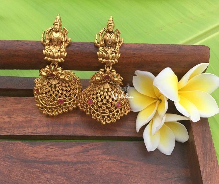Designer Antique Finish Lakshmi Jhumkas-01