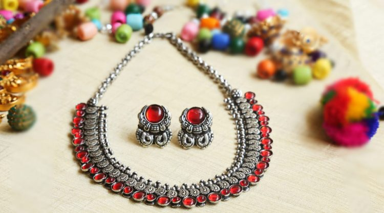 Designer German Silver Red & Green Stone Necklace-01