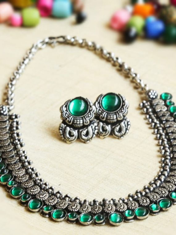 Designer German Silver Red & Green Stone Necklace-02