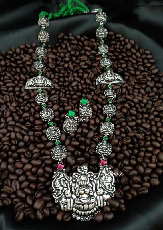 Designer Lakshmi Pendant German Silver Haram-01