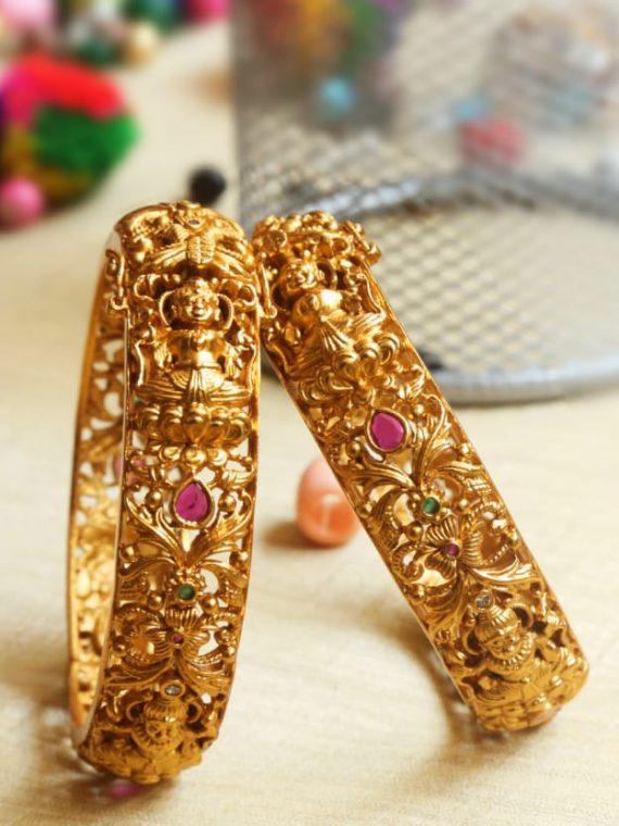 Designer Matte Gold Lakshmi Openable Bracelet cum Bangles-01