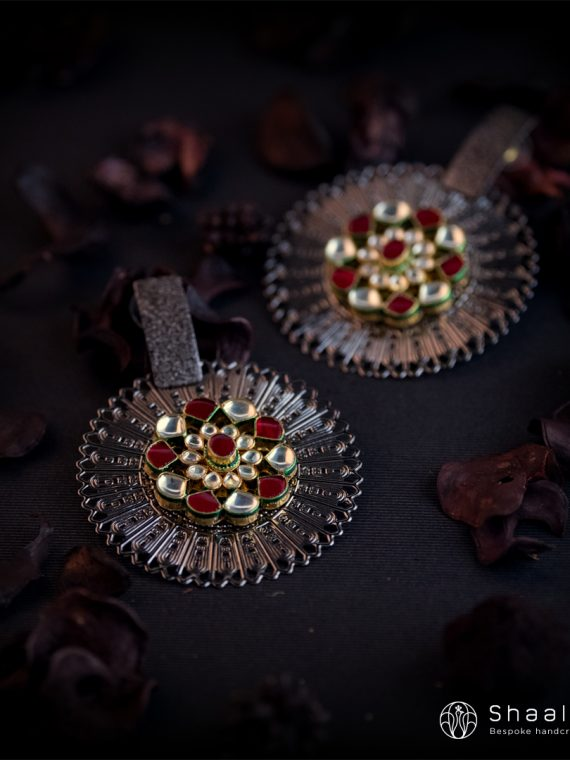 Designer Ruby Kundan Studded Fusion Earrings-01