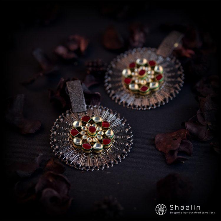 Designer Ruby Kundan Studded Fusion Earrings-01