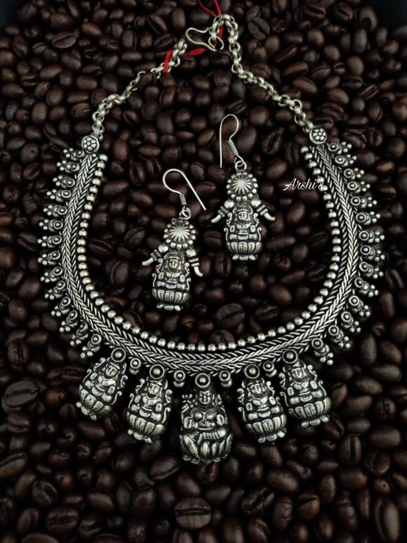 German Silver Pancha Lakshmi Necklace-01