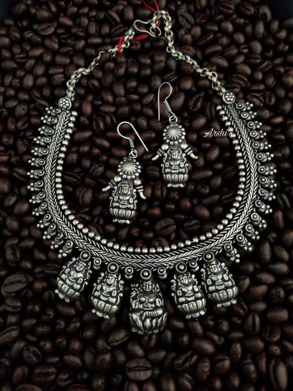 German Silver Pancha Lakshmi Necklace-01