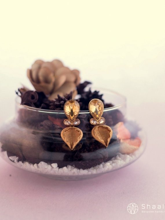 Gold Plated Leaf Shaped Crystal Stone Earrings-01