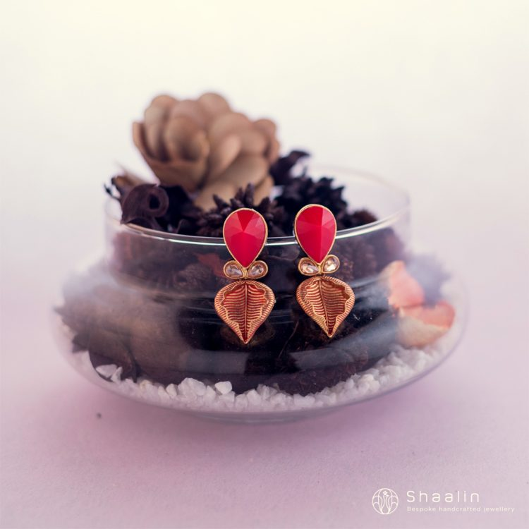 Gold Plated Leaf Shaped Crystal Stone Earrings-02