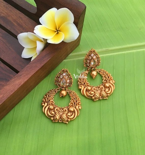 Gorgeous Peacock Design Single Gold Drop Chandbali Earrings-01