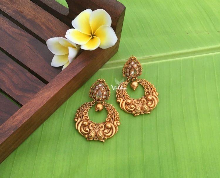 Gorgeous Peacock Design Single Gold Drop Chandbali Earrings-01