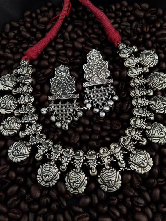 Grand German Silver Durga Beaded Necklace-01
