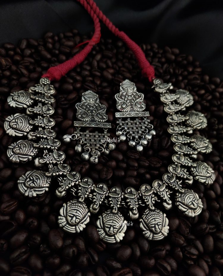 Grand German Silver Durga Beaded Necklace-02