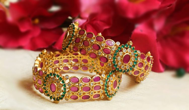 Grand Ruby & Green AD Stone Bangles-02