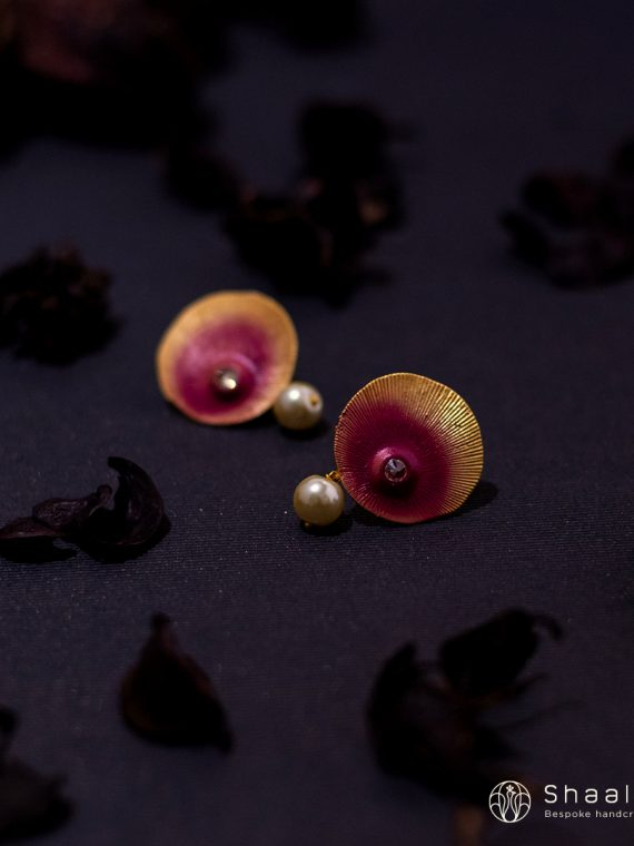 Hand Painted Earrings with Pearl Drop-02