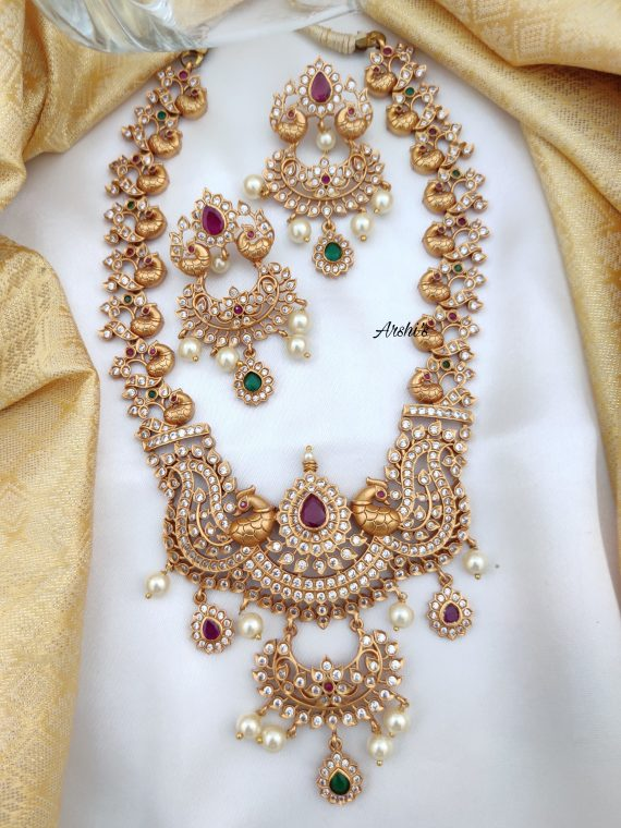 Heavy Grand Bridal Peacock Necklace-01