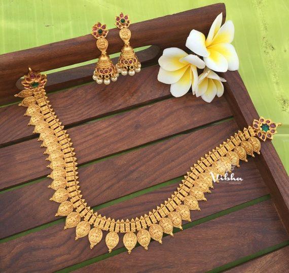 Imitation Matte Finish Lakshmi Coin Necklace-01