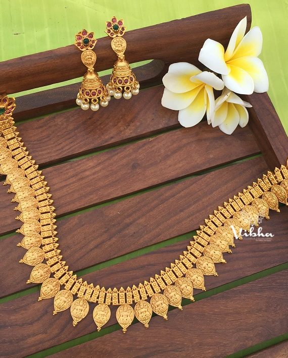 Imitation Matte Finish Lakshmi Coin Necklace-01