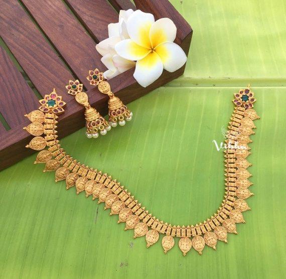 Imitation Matte Finish Lakshmi Coin Necklace-02