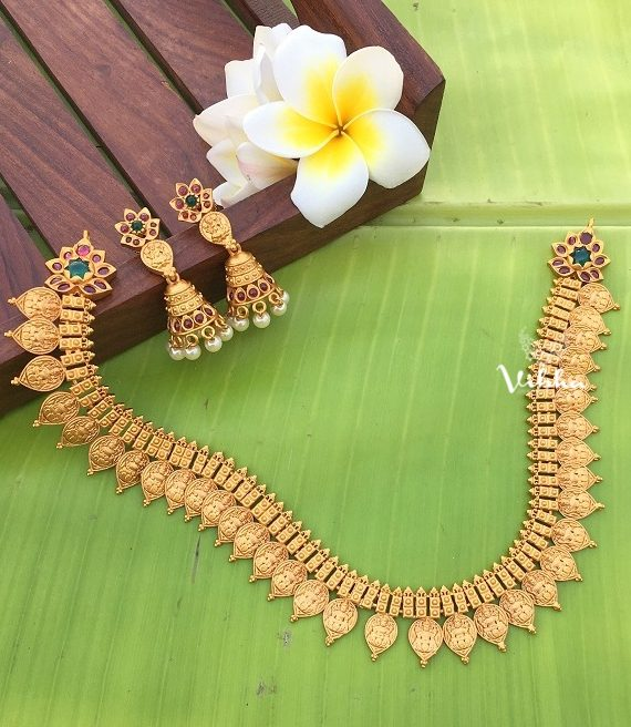 Imitation Matte Finish Lakshmi Coin Necklace-02