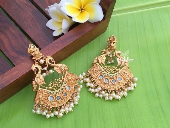 Matte Finish Peacock Chandbali Earrings-01