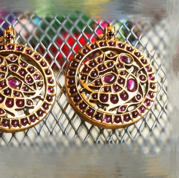 Ruby Stones Peacock Design Earrings-01