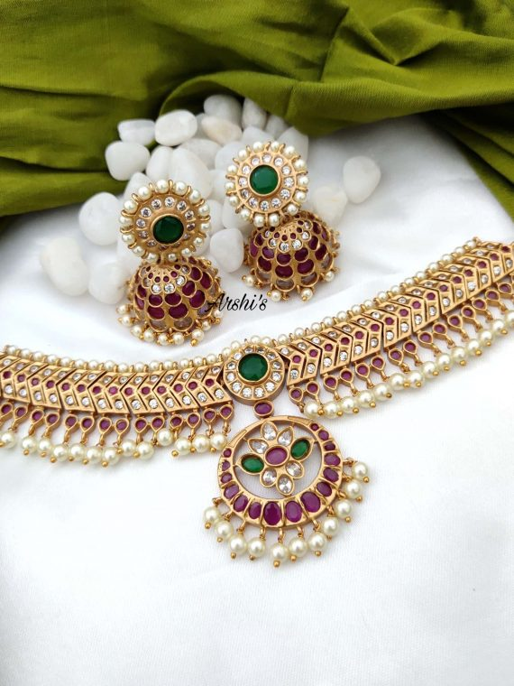 South Indian Style Ruby and Green Stone Choker-01
