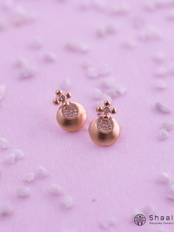 Sparkling Rose Gold American Diamond Studs-01