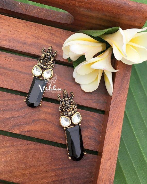 Unique Design Antique Finish Lakshmi Earrings-02
