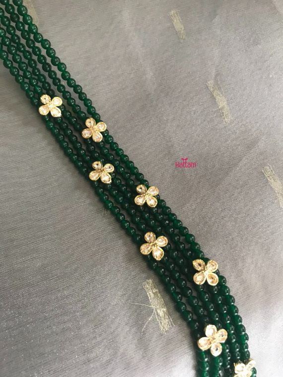 5 Layered Green Bead White Stone Floral Pattern Haram-02