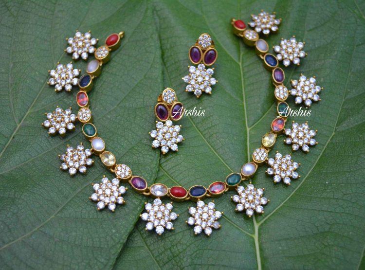 AD Navarathna Necklace Set-01