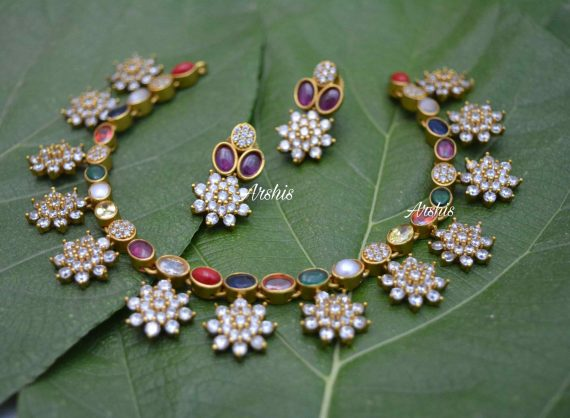 AD Navarathna Necklace Set-02