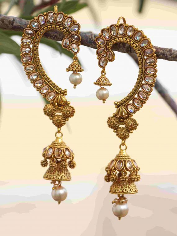 AD Stone Earcuff with Jhumka Earrings-01
