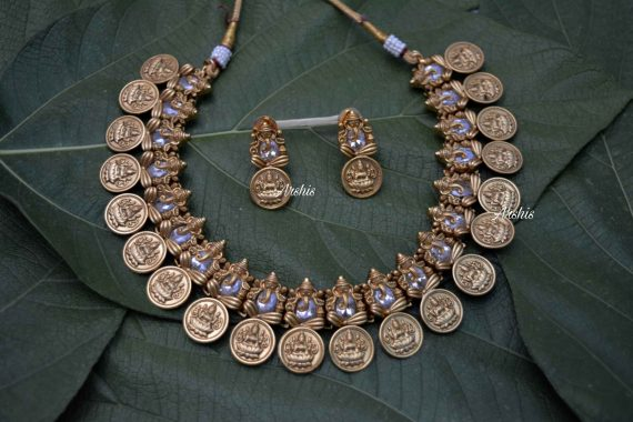 AD Stone Ganesha with Lakshmi Coin Necklace-01
