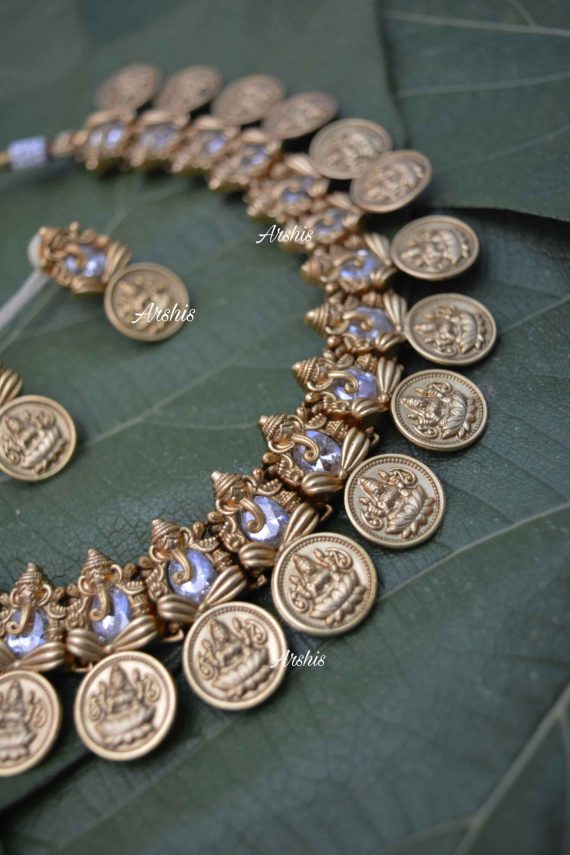 AD Stone Ganesha with Lakshmi Coin Necklace-02