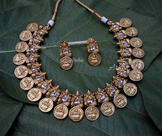 AD Stone Ganesha with Lakshmi Coin Necklace-03