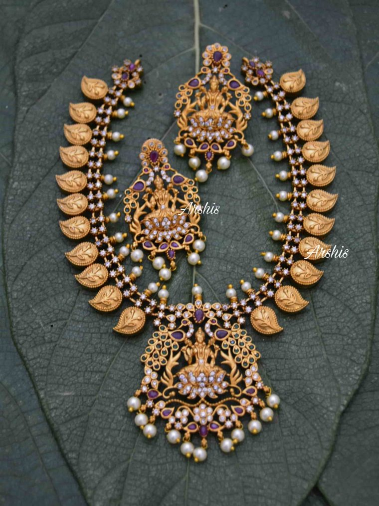 AD Stone Grand Lakshmi Mango Necklace-01