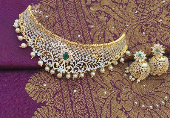 Adorable Diamond Finish Bridal Choker-01