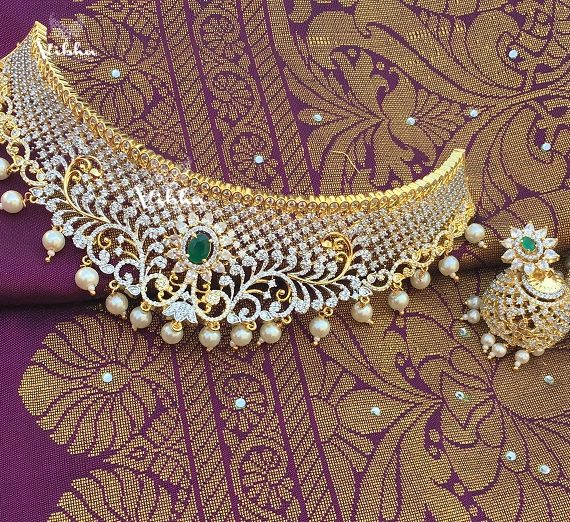 Adorable Diamond Finish Bridal Choker-01